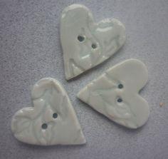 Ceramic Buttons Heart buttons impressed by susansharpeceramics, £7.00
