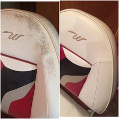 Mold & mildew removed from my vinyl boat seats! I used soft scrub bleach and wiped it on very think. I let it sit 10 minutes, wiped off and repeated until stains were gone. Try to keep the cleaner off the thread as the bleach will weaken the seams. Rinse well and apply a vinyl protectant.