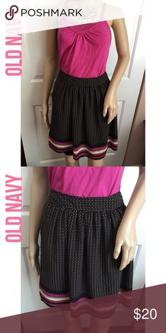Old Navy Polka Dot and Striped Skirt Excellent used condition! Smoke and pet free home. No trades. Fully lined with two buttons on the side. Old Navy Skirts Midi