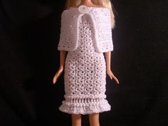 """Crochet for Barbie (the belly button body type): """"Winter Snow"""" Barbie dress and cape/wrap"""