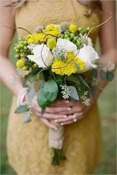yellow, white and green wedding bouquet | photo: www.jhendersonstudios.com