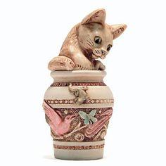 Harmony Kingdom JARDINIA Cat Treasure Jest - Infinity version, tan cat