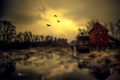 Water Mill in Jelka_ Slovakia Old Grist Mill, Water Mill, Countryside, Northern Lights, Water Wheels, Around The Worlds, Clouds, Windmills, Sunset
