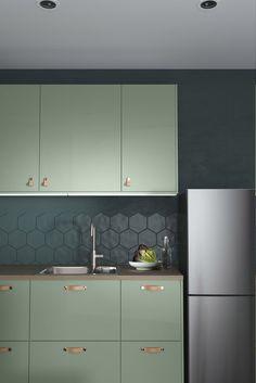 Redo Kitchen Cabinets, Kitchen Cabinet Design, Kitchen Redo, Interior Design Kitchen, Kitchen Remodel, Mint Kitchen, Condo Kitchen, Apartment Kitchen, Green Kitchen Designs