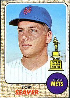 1968 Topps Tom Seaver New York Mets Baseball Card Baseball Card Values, Old Baseball Cards, Baseball Stuff, Baseball Photos, But Football, Mets Baseball, Baseball Wall, Cardinals Baseball, Ny Mets