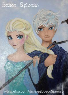 Elsa & Jack Frost  acrilico su legno  di BoscoSpinoso su Etsy, €42.00