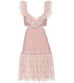 Meridian red and cream stripe frill cotton dress