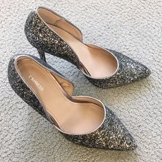 Express Runway Glitter Heals Gently worn once to a holiday party. Perfect condition, size 9, 3 inch heels Express Shoes Heels