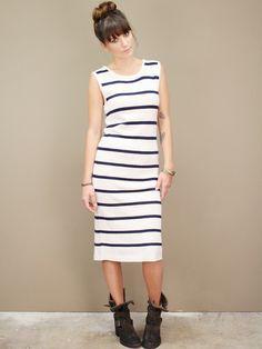Sleeveless vintage sweater dress with navy stripes, striped midi dress | shopcuffs.com, $44