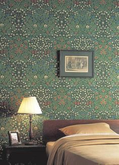 'Blackthorn' by William Morris features pretty meadow flowers of fritilery, viola & daisy are overlain with the white blossoms of hedge blackthorn Wallpaper Canada, Red Wallpaper, Wallpaper Online, Wallpaper Samples, Flower Wallpaper, Pattern Wallpaper, William Morris Wallpaper, Morris Wallpapers, Botanical Bedroom