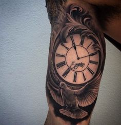 100 Inner Bicep Tattoo Designs For Men - Manly Ink Ideas Guys Inner Biceps Clock And Lovely Dove Tattoo Inside Bicep Tattoo, Bicep Tattoo Men, Inner Bicep Tattoo, Upper Arm Tattoos, Arm Tattoos For Guys, Underarm Tattoo, Tattoo Collection, Clock Tattoo Design, Clock Tattoos