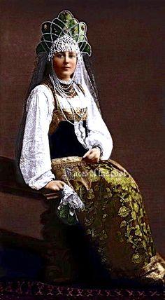 Princess Olympia Alexandrovna Baryatinskaya in 17th-century folk costume