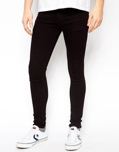 $45, Black Skinny Jeans: Asos Brand Extreme Super Skinny Jeans In Black. Sold by Asos. Click for more info: http://lookastic.com/men/shop_items/24577/redirect