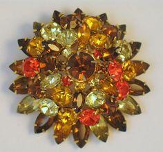 Blazing Orange Topaz Peridot Layered Vintage Dome Brooch/Pendant