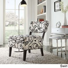 TRIBECCA HOME Elko Print Armless Curved Back Accent Chair - Overstock™ Shopping - Great Deals on Tribecca Home Living Room Chairs