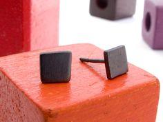 Simple Geometric Square Stud Earrings in Black Sterling Silver