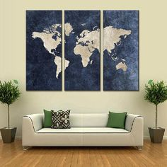 Cheap wall pictures, Buy Quality map canvas directly from China world map canvas Suppliers: New 3 Pcs/Set Abstract Navy Blue World Map Canvas Painting Modern Wall Pictures For Office Room Decor
