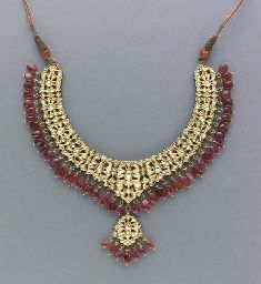 DIAMOND, SPINEL, EMERALD, ENAMEL, AND GOLD INDIAN JEWELRY