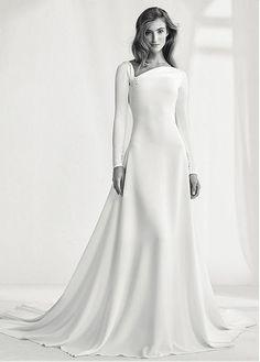 Charming Si Mian Tan Asymmetrical Neckline Natural Waistline A-line Wedding Dress With Beadings