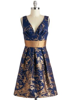 Gilded Paradise Dress by Eva Franco - Gold, Print, Luxe, A-line, Mid-length, Blue, Cocktail, Sleeveless, V Neck, Holiday Party, Statement, Pinup