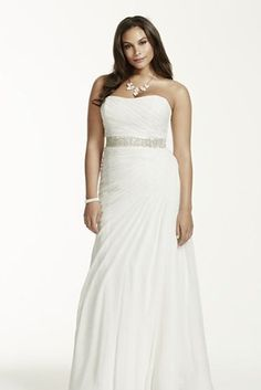 Crinkle Chiffon Gown with Asymmetrical Draping, David's Bridal | 31 Jaw-Dropping Plus-Size Wedding Dresses