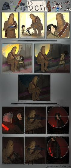 Artist Tyson Murphy breaks all our hearts by showing us what Chewie's point of view may have been. | This Comic About Kylo Ren And Chewbacca Will Wreck You *CRIES :(