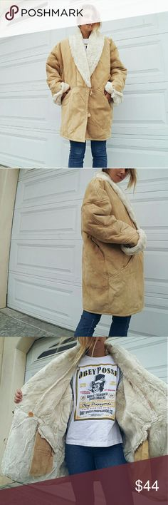 """Sheepskin Jacket The outside is real suede leather, the inside is faux sheepskin/wool, but still super warm. Oh i wish it snowed hereeee. The jacket is not new but in VERY good conditions. It has been gently and rarely worn due to the weather here. It is a size L, and you can see it on a size S, 5'6"""". Of course i'm onky wearing a tshirt underneath so it will probably look fuller with a sweater underneath. avanti Jackets & Coats"""