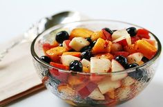 Blueberry Peach Fruit Salad with Thyme via Simply Recipes