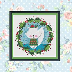 mr arctic fox wreath cross stitch pattern