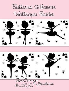 Ballerina silhouette wallpaper border wall decals for baby girl ballet nursery or children's dance room decor. Refer to color chart in photo Use as border or wall decals. Ballerina Silhouette, Ballet Nursery, Baby Nursery Decor, Nursery Art, Purple Art, Pink Art, Pink Purple, Pink Black, Blue Grey