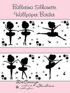 Black Ballerina Silhouette wallpaper border wall decals for baby girl ballet nursery or children's dance room decor #decampstudios