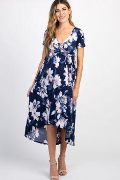 be8165f2f43 Navy Floral Hi Low Maternity Wrap Dress. Spring MaternitySummer Maternity  FashionMaternity DressesPregnancy ...