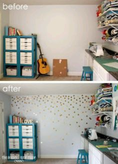 Gold polka dot stickers bring life to a wall