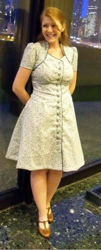 Colette's Ceylon Dress  - another option for piping and contrast buttons