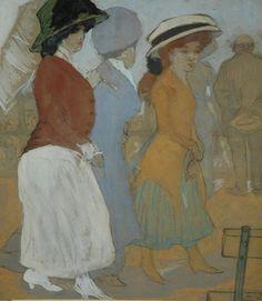 Leendert 'Leo' Gestel (Woerden 1881-1941 Hilversum) Drie vrouwen op de boulevard van Scheveningen - Kunsthandel Simonis en Buunk, Ede (Nederland).