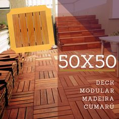 Deck Modular 50x50cm Madeira Cumarú