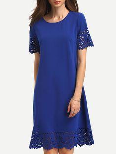 Buy it now. Blue Hollow Hem Shift Dress. Blue Casual Polyester Round Neck Short Sleeve Shift Short Ruffle Plain Fabric has some stretch Summer Tunic Dresses. , vestidoinformal, casual, camiseta, playeros, informales, túnica, estilocamiseta, camisola, vestidodealgodón, vestidosdealgodón, verano, informal, playa, playero, capa, capas, vestidobabydoll, camisole, túnica, shift, pleat, pleated, drape, t-shape, daisy, foldedshoulder, summer, loosefit, tunictop, swing, day, offtheshoulder, smock...
