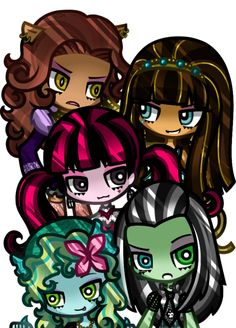 Monster High cartoons  Clawdeen Wolf,Cleo De Nile,Draculara,Frankie Stein and Lagoona Blue i love FRANKIE!!!!!!