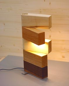 de Side Lamp table light by Thomas Lemut, collaborating with the cabinet maker Johannes Eckhart. Limited edition, numbered and signed. Cool Lamps, Unique Lamps, Deco Design, Wood Design, Design Design, Light Table, Lamp Light, Table Lighting, Light Bulb
