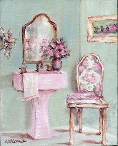 Google Image Result for http://3.bp.blogspot.com/__M9Y8flSyc8/Sjnzn1YIBMI/AAAAAAAAEME/6H2PQBY_7JA/s400/shabby%2Bchic%2Bbathroom.jpg      Love the floral design and beautiful pastel pink colour.