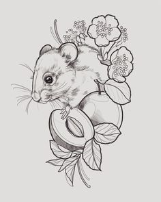 With dad& favourite fruit and mum& favourite flowers. With dad& favourite fruit and mum& favourite flowers. Pencil Art Drawings, Cute Drawings, Tattoo Drawings, Animal Sketches, Animal Drawings, Bleistift Tattoo, Drawing Sketches, Art Sketches, Mouse Tattoos