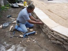 Rough cut flagstone retaining walls
