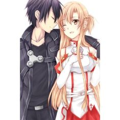 Asuna and Kirito ❤ liked on Polyvore featuring anime and sword art online