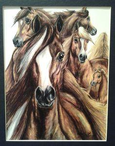 Horse Crazy  original colored pencil art by wordfirstartstudio, $24.00