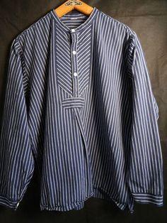Vtg blue & white cotton striped mariner work chore grandad collar smock shirt | eBay