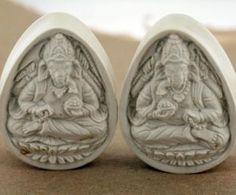 Ivoryite Stone Teardrop Plugs - Ganesha 38mm   Onetribe