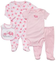 Amazon.com: Carter's 4 Piece Layette Set - Light Pink Elephant-Nb: Baby