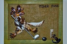 "Miniature mixed media seashell mosaic, ""Tiger Puss"", by Alla Baksanskaya. http://allaexpression.com/blog/golf-and-seashells-have-a-lot-in-common/"