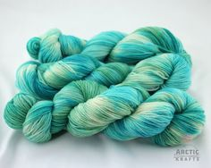 sea glass hand dyed sock yarn 410 yards by Arctickrafts on Etsy
