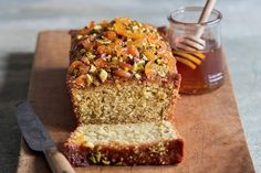 Pistachio and Lime Loaf with Honey Apricot Drizzle